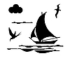 Vector clipart: silhouette of sailing ship
