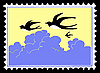 Vector clipart: silhouette swallow on postage stamp