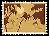 Vector clipart: tropical landscape on postage stamp