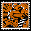 Vector clipart: old mechanism on postage stamp