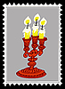 Vector clipart: old candlestick on postage stamp.
