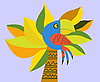 Vector clipart: drawing of the parrot on palm