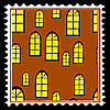 Vector clipart: home window on postage stamp.