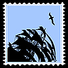 Vector clipart: silhouette sailfish on postage stamp