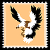 silhouette of the ravenous bird on postage stamp