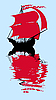 Vector clipart: the sailfish with red sail