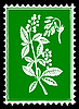Vector clipart: silhouette of the plant on postage stamp