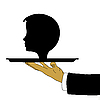 Vector clipart: hand of the waiter with head on tray
