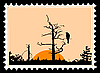 Vector clipart: silhouette of the bird on tree on postage stamp