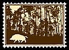 Vector clipart: silhouette of the wild boar in wood on postage stamp