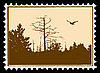 silhouette of the bird on postage stamp