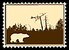 Vector clipart: silhouette of bear on postage stamp