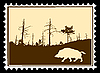 silhouette wild boar on postage stamp