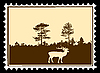 silhouette deer on postage stamp