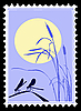 Vector clipart: silhouette of dragonflies on postage stamp