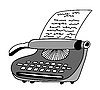 Vector clipart: drawing of the printed type-writer