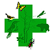 Vector clipart: silhouette animal on green cross