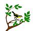 Vector clipart: silhouette bird on tree
