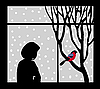 Vector clipart: silhouette of the woman against window