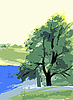 Vector clipart: simple drawing summer landscape