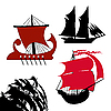 Vector clipart: set old-time sailfish