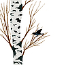 Vector clipart: starling on birch
