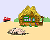 Vector clipart: pig against rural building