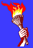Vector clipart: drawing of the torchlight in hand of the person