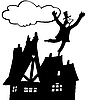 Vector clipart: chimney sweep on roof