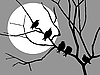 Vector clipart: starlings on branch of tree