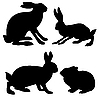Silhouettes of hare and rabbit | Stock Vector Graphics