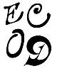 Vector clipart: letter E, C, O, D