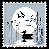 silhouette bird on postage stamp