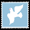 white dove on blue postage stamp.