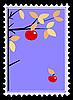 apple on branch on postage stamp.