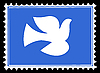 silhouette dove on postage stamp
