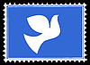 Vector clipart: silhouette dove on postage stamp