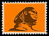 Vector clipart: silhouette of the sphinx on postage stamp
