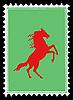 Векторный клипарт: красного коня на почтовых марках.