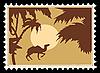 Векторный клипарт: тропический пейзаж на почтовых марках