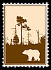 Vector clipart: silhouette of bear in forest on postage stamp