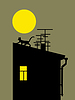 Vector clipart: cat silhouette on home roof