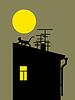Векторный клипарт: силуэт кошки на крыше дома