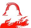 Векторный клипарт: пожара и пожарным шлемом,