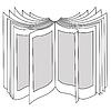 Векторный клипарт: открывая книгу силуэт, illustratio