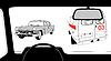 Векторный клипарт: силуэт салоне автомобиля