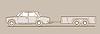 Векторный клипарт: Автомобиль с прицепа на фоне коричневый,