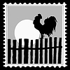 Vector clipart: silhouette of the cock on postage stamp,