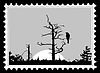 silhouette of the bird on tree on postage stamp, illust
