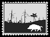 silhouette of wild boar on postage stamp